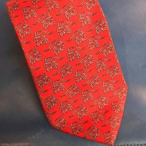 Salvadori Ferragamo silk red/blue elephants tie